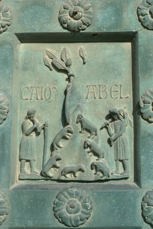 Monreale cathedral, bronze doors of Bonannus of Pisa, Cain and Abel