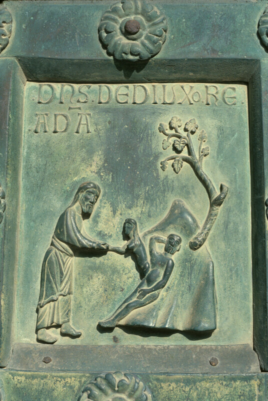 Monreale cathedral, bronze doors of Bonannus of Pisa, Creation of Eve