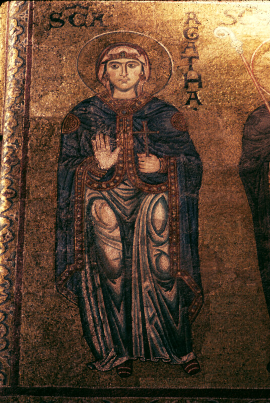 Monreale cathedral, north wall of the presbytery, mosaic of St. Agatha