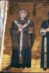 Monreale cathedral, south wall of the presbytery, mosaic of St. Hilary of Poitiers
