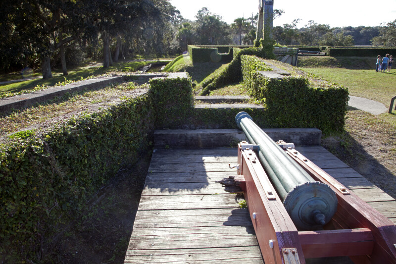 Mounted Cannon Pointed Towards Entrance of Fort Caroline's Reconstruction Site