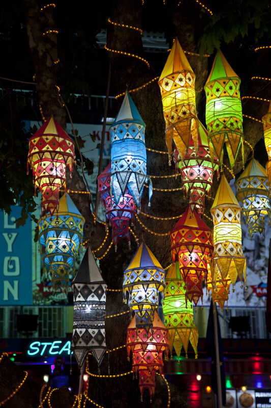 Multi-Colored Fabric Lanterns in Kusadasi, Turkey