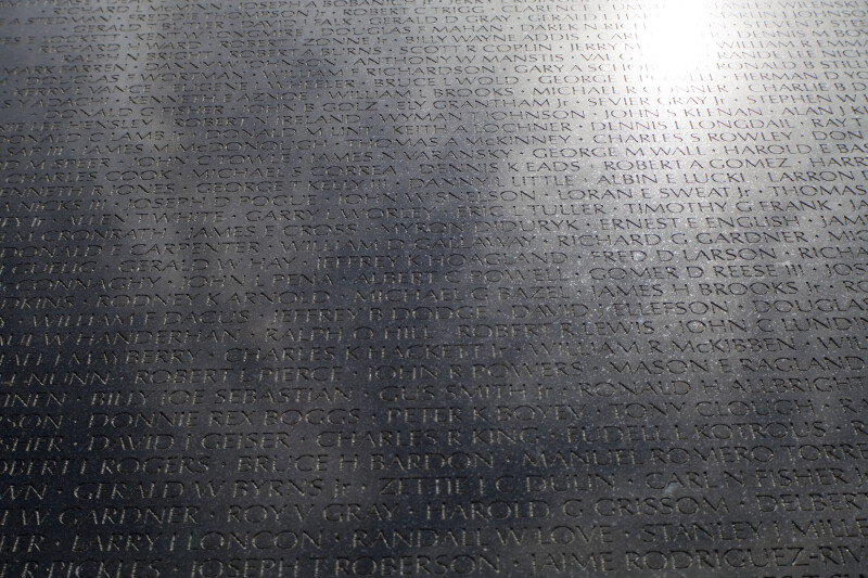 Names on Memorial Wall