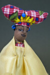 Namibia Fabric Herero Woman Doll with Traditional Dress and Hat Resembling Cow Horns (Close Up)