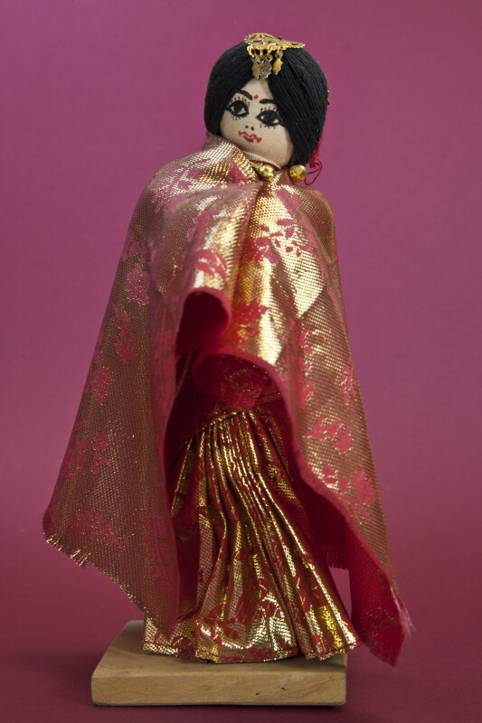 Nepal Handcrafted Bride Dressed for Wedding with Traditional Costume and Jewelry (Full View)