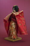 Nepal Handcrafted Newari Bride Made with Fabric, Yarn, and Wire (Three Quarter View)