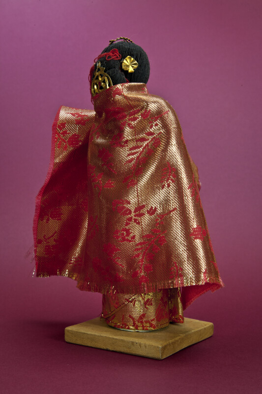 Nepal Newari Bride in Beautiful Red and Gold Brocade Dress and Shawl (Back View)