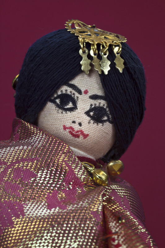 Nepal Picture of Newari Bride with Hand Painted Face and Gold Head Ornament (Close Up)