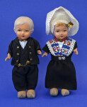 Netherlands Boy and Girl Dolls Wearing Traditional Dutch Costumes (Full View)