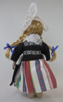 Netherlands Doll from Holland Wearing Traditional Costume with Peaked Cap, Wood Shoes, Karlap, Kletje, and Striped Skirt (Back View)