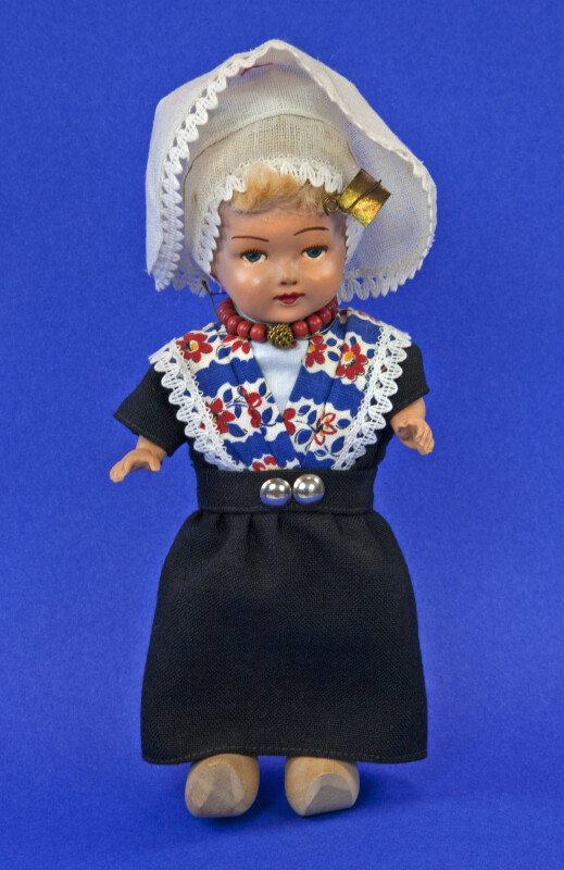 Netherlands Female Doll is Traditional Dutch Costume with Wooden Shoes (Full View)