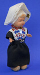 Netherlands Genuine Rozetta Doll Wearing Traditional Dress Made in Amsterdam (Three Quarter View)