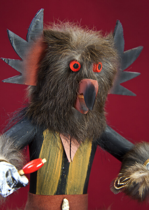 Nevada Wooden Kachina Owl Doll with Mask Made from Fur, Feathers, and Wood (Three Quarter Close Up)