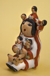 New Mexico Ceramic Figurine of Pueblo Indian Storyteller Woman with Five Children (Three Quarter View)