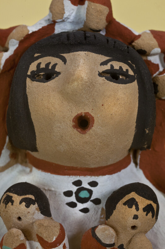 New Mexico Hand Painted Storyteller Pottery of Woman with Open Mouth Telling Tribal Legends to Children (Close Up)