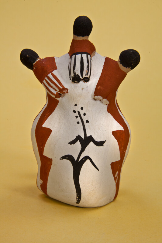 New Mexico Pottery of Three Children Looking Over the Shoulder of Pueblo Indian Storyteller and Listening to Story (Back View)