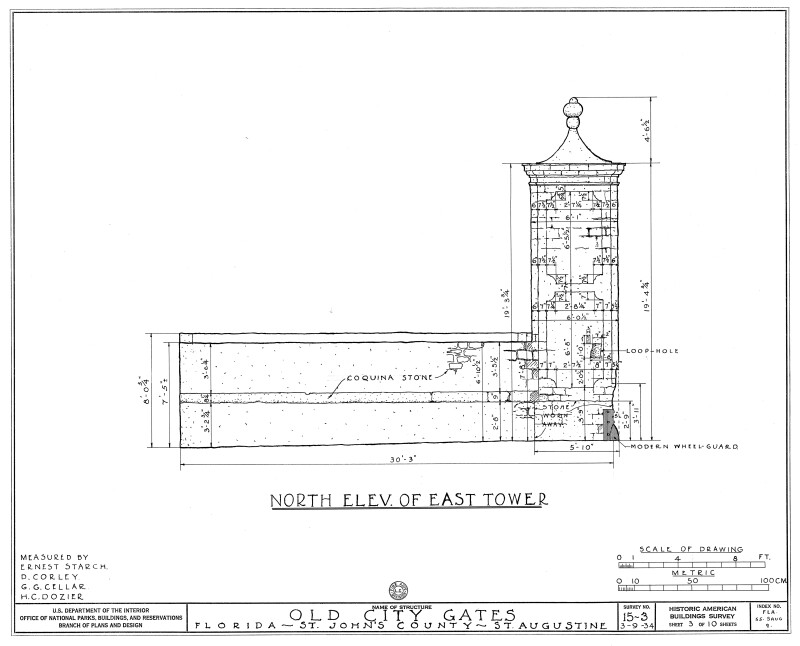 North Elevation Drawing of the East Tower