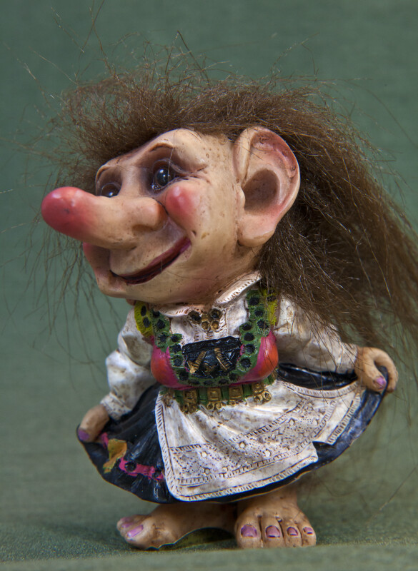 Norway Barefoot Troll Doll with Colorful Dress and Apron (Three Quarter View)