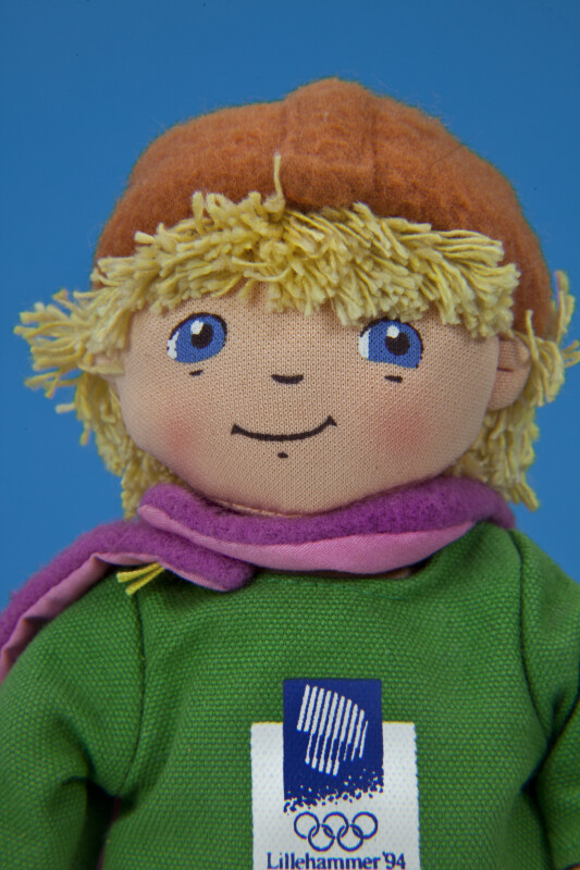 Norway Fabric Doll Wearing Boots, Cape and Hat for Winter Olympics in 1994 (Close Up)