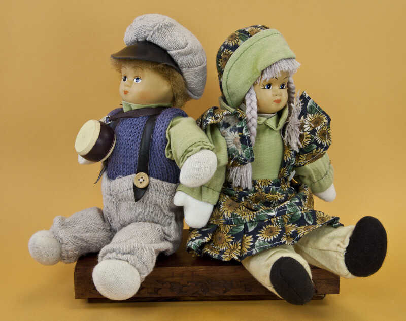 Norway Fabric Figures of Boy and Girl Sitting Back to Back