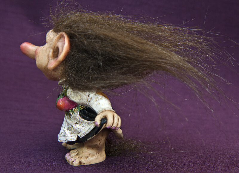 Norway Female Ceramic Troll Doll with Long Stringy Hair (Side View)
