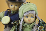 Norway Photo of Girl and Boy with Ceramic Heads and Yarn Hair  (Close Up)