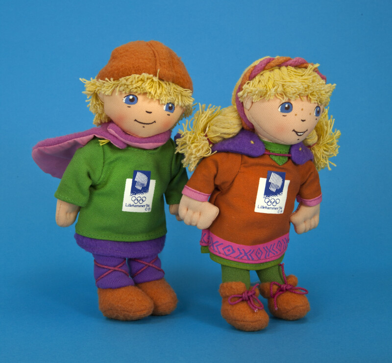 Norway Stuffed Fabric Mascots (Kristin and Håkon) for the 17th Winter Olympics (Three Quarter View)