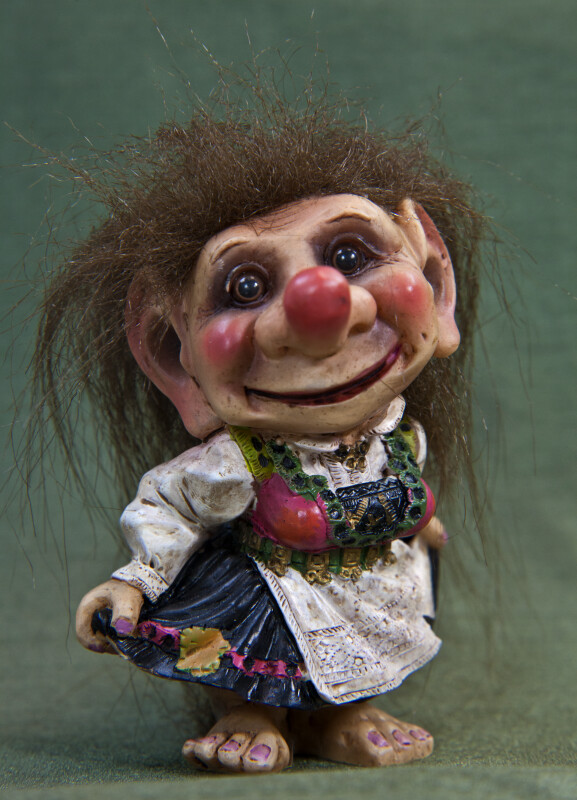Norway Troll Female Doll with Large Nose and Ears (Full View)