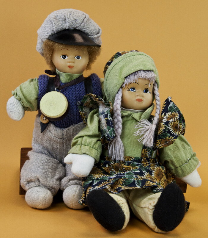 Norwegian Boy and Girl with Ceramic Heads and Stuffed Bodies (Full View)