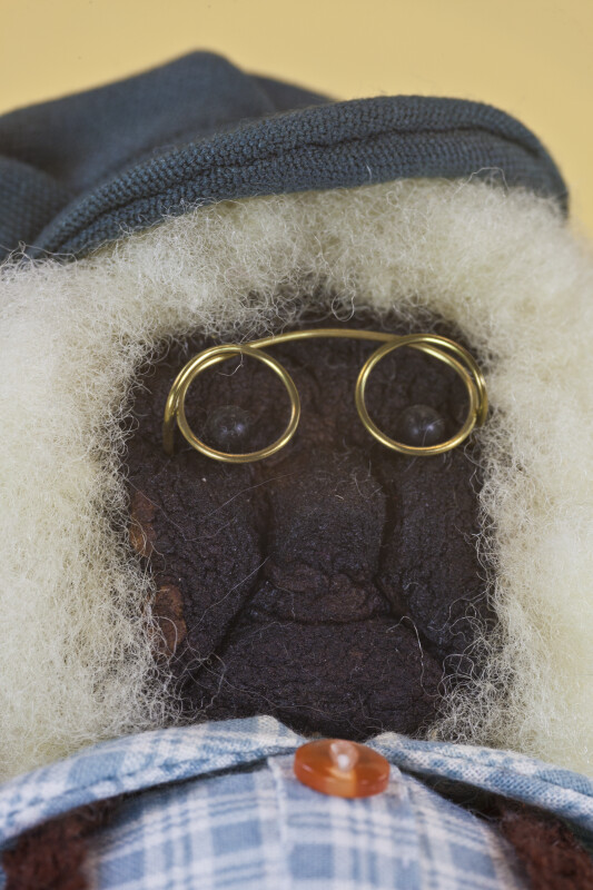 Nova Scotia Face of Elderly Man Doll with Apple Head, Wire Glasses, and White Wool Hair (Close UP)