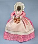 Nova Scotia Doll with Applehead Crocheting a Blanket (Full View)