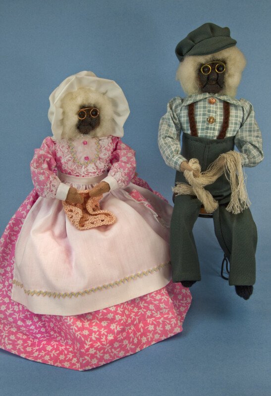 Nova Scotia Male and Female Dolls Made with Apple Heads, Wool Hair, and Hand Made Clothing (Full View)
