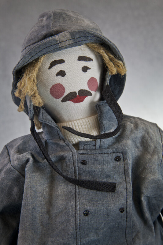 Nova Scotia Male Figurine of Seafarer with Rope Hair, Oil Cloth Hat, and Painted Face (Close Up)