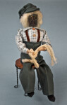 Nova Scotia Man Apple Head Figurine Wearing Wire Glasses and Fisherman's Hat (Full View)