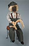 Nova Scotia Man Apple Head Figurine Wearing Wire Glasses and Fisherman's Hat (Full View)