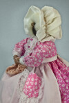 Nova Scotia Woman  Apple Head Doll Wearing Wire Glasses and White Bonnet (Side View)