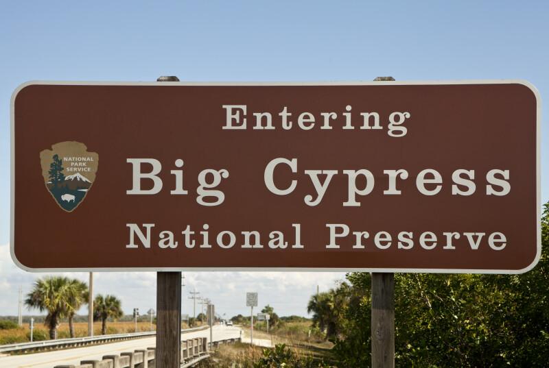 """Now Entering Big Cypress National Preserve"" Sign"