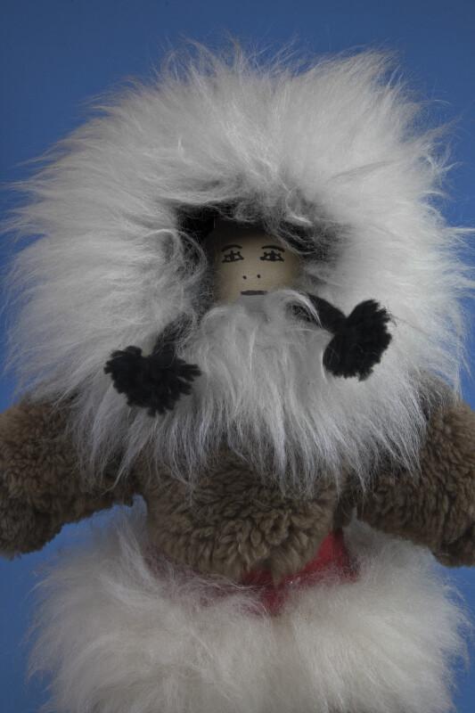 Nunavut, Canada Eskimo Girl with Leather Face and Yarn Braids (Three Quarter View)