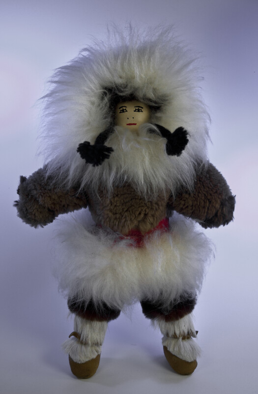 Nunavut, Canada Handcrafted Inuit Girl Made with Real Fur and Leather (Full View)
