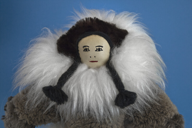 Nunavut, Canada Stuffed Doll Wearing Fur Parka and Boots with Beads (Close Up)