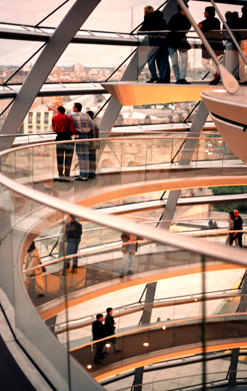 Observing Berlin from the Interior of the Reichstag Dome