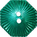 Octagonal Button with Radiating Lines, Blue-Green