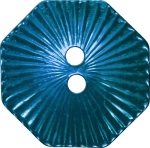 Octagonal Button with Radiating Lines, Blue