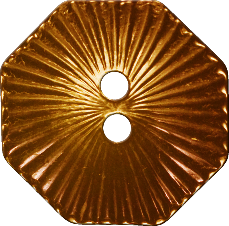 Octagonal Button with Radiating Lines, Brown