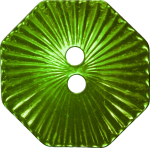 Octagonal Button with Radiating Lines, Chartreuse