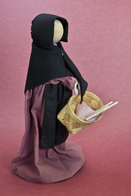 Ohio Faceless Amish Female Made from Wood and Cloth (Three Quarter View)