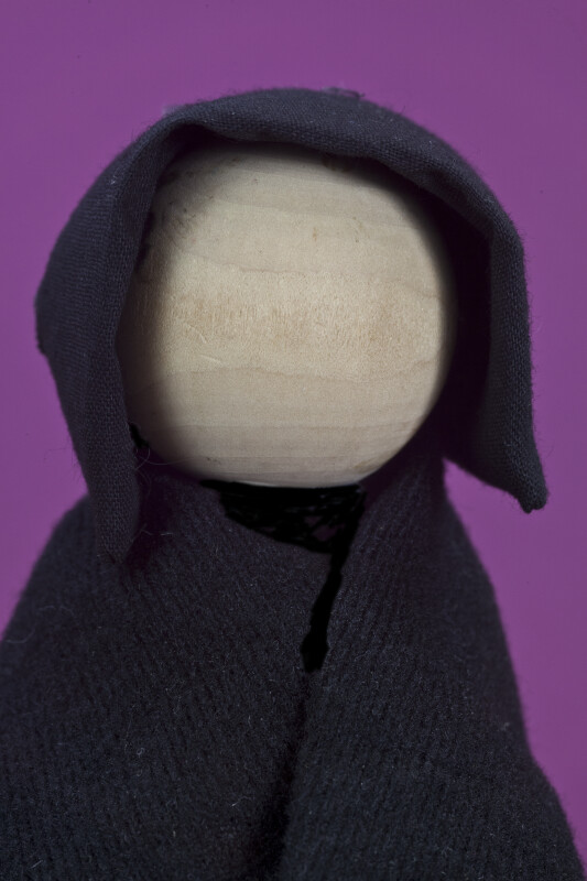 Ohio Handcrafted Amish Lady Wearing Black Bonnet and Shaw (Close Up)