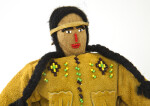 Oklahoma Handcrafted  Indian with Beaded Face and Leather Shirt (Close Up)