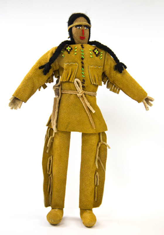 Oklahoma Stuffed Leather Male Indian Doll with Moccasins and Braids (Full View)