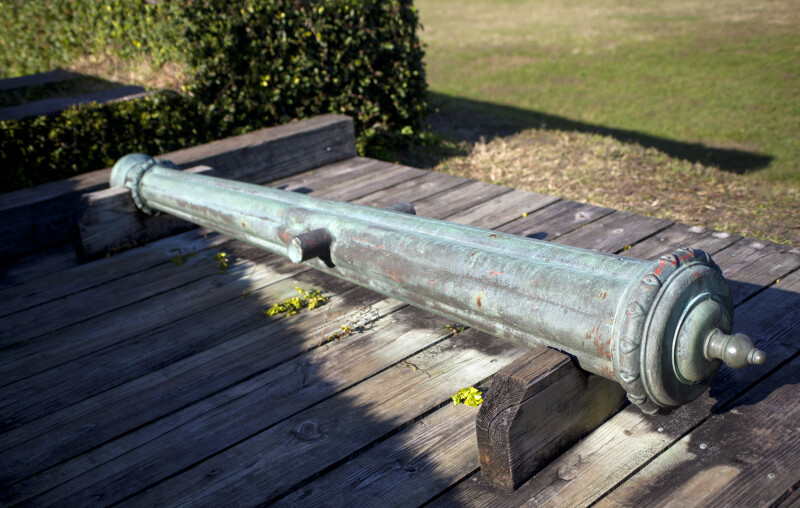 Old Cannon Mounted on a Wooden Firing Step
